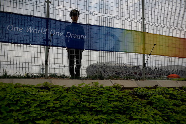 A military police officer stands guard in front of the National Stadium in Beijing, China on Sunday, August 17, 2008.  Kevin German