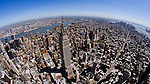 Empire State Building New York City fisheye view of lower Manhattan helicopter aerial