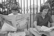 WASHINGTON - AUGUST 7, 1974:  - Press coverage of President Nixon resigning the presidency on August 9, 1973 - A break in at the Democratic National Committee headquarters at the Watergate complex on June 17, 1972 results in one of the biggest political scandals the US government has ever seen.  Effects of the scandal ultimately led to the resignation of  President Richard Nixon, on August 9, 1974, the first and only resignation of any U.S. President.