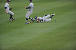 Ole Miss vs. UT-Martin's Byron Johann is unable to make a diving catch at Oxford-University Stadium in Oxford, Miss. on Wednesday, February 20, 2013. Ole Miss won 15-2 to improve to 4-0.