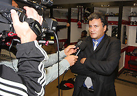 Marco Etcheverry is interviewed during festivities surrounding the final appearance of Jaime Moreno in a D.C. United uniform, at RFK Stadium, in Washington D.C. on October 23, 2010. Toronto won 3-2.