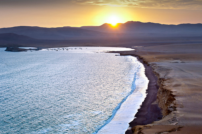 lLima, Peru, Paracas National Reserve, Lagunillas Bay, Subtropical Coastal Desert, Sunset, Ica