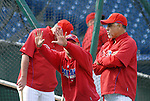 10/17/08 1:27:37 PM -- Philadelphia, PA, U.S.A. -- Philadelphia Phillies Shane Victorino (C) speaks with Phillies coach Dave Lopes (R) as he warms up before practice October 17, 2008 at Citizen's Bank Park in Philadelphia, Pennsylvania. Victorino showed the team that cast him aside that it made a costly error. The Philadelphia outfielder, who spent six years in the L.A. Dodgers' farm system, used key hits in pressure situations, including a triple, Game 4 eighth-inning homer and six RBI during the NLCS, to help the Phillies beat the Dodgers and reach their first World Series since 1993. -- ...Photo by William Thomas Cain, Freelance.