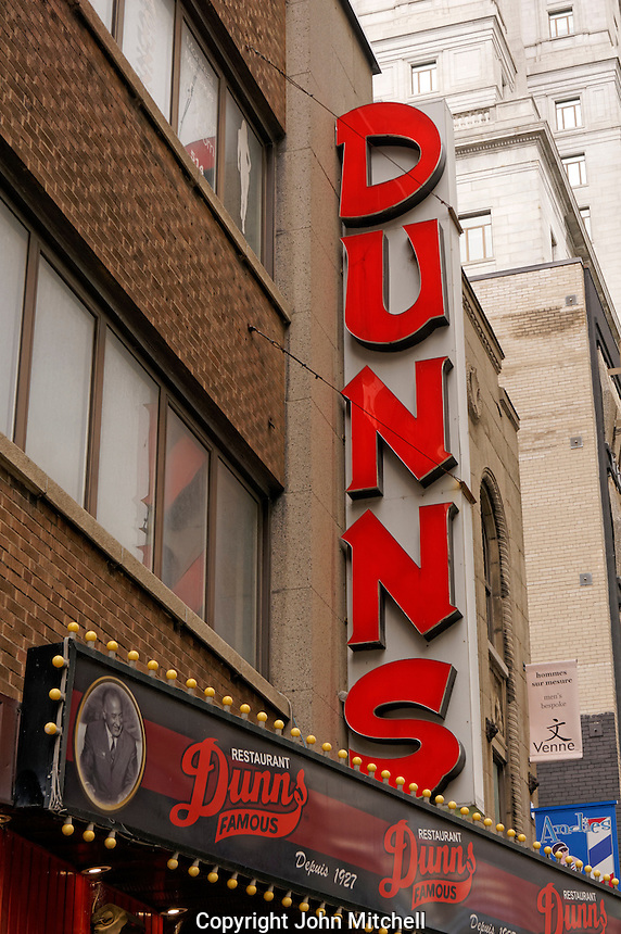 Famous Dunn's Restaurant on Metcalfe Street in downtown Montreal, Quebec, Canada