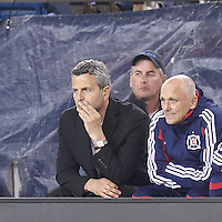 Chicago Fire coach Frank Klopas late in the second half. In a Major League Soccer (MLS) match, the New England Revolution (blue) defeated Chicago Fire (red), 1-0, at Gillette Stadium on October 20, 2012.