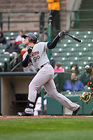 Scranton/Wilkes-Barre RailRiders right fielder Aaron Judge (99) bats against the Rochester Red Wings on May 1, 2016 at Frontier Field in Rochester, New York. Rochester defeated Scranton 1-0.  (Christopher Cecere/Four Seam Images)