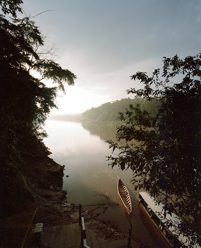 Tambopata river at sunrise, Tambopata National Reserve, Amazon region, PERU, South America