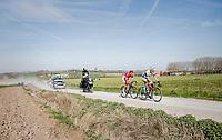 race leaders Preben Van Hecke (BEL/Sport Vlaanderen - Baloise) &amp; Lo&iuml;c Chetout (FRA/Cofidis) leading over the newly added gravel roads around Ploegsteert, called 'Plugstreets'<br /> <br /> 79th Gent-Wevelgem 2017 (1.UWT)<br /> 1day race: Deinze &rsaquo; Wevelgem - BEL (249km)