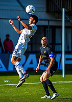 Emiliano Tade wins a header as Bill Robertson looks on during the Oceania Football Championship final (second leg) football match between Team Wellington and Auckland City FC at David Farrington Park in Wellington, New Zealand on Sunday, 7 May 2017. Photo: Dave Lintott / lintottphoto.co.nz