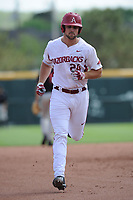 NWA Democrat-Gazette/ANDY SHUPE<br />Arkansas first baseman Chad Spanberger rounds the bases against Georgia Saturday, April 15, 2017, after hitting a three-run home run during the second inning at Baum Stadium in Fayetteville. Visit nwadg.com/photos to see more photographs from the game.