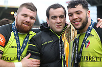 Leicester Tigers&rsquo; Michele Rizzo,  Marcos Ayerza and Ellis Genge<br /> <br /> Photographer Rachel Holborn/CameraSport<br /> <br /> Anglo-Welsh Cup Final - Exeter Chiefs v Leicester Tigers - Sunday 19th March 2017 - The Stoop - London<br /> <br /> World Copyright &copy; 2017 CameraSport. All rights reserved. 43 Linden Ave. Countesthorpe. Leicester. England. LE8 5PG - Tel: +44 (0) 116 277 4147 - admin@camerasport.com - www.camerasport.com