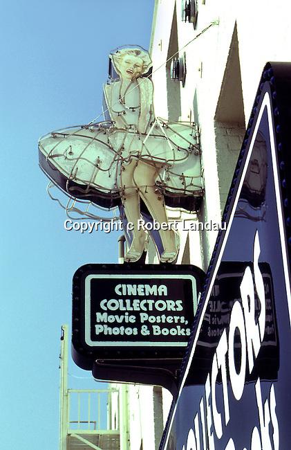 Marilyn Monroe neon sign over Hollywood memorabilia shop Cinema Collectors in Hollywood, CA circa 1970s