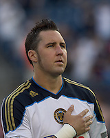 Philadelphia Union defender Danny Califf (4). In a Major League Soccer (MLS) match, the Philadelphia Union defeated the New England Revolution, 3-0, at Gillette Stadium on July 17, 2011.