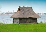 Old Log Cabin with Thatched Roof in Rocca Al Mare Museum, Tallinn, Estonia