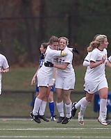 Boston College defender Hannah Cerrone (11) celebrates Boston College forward Stephanie Wirth's (22) goal. Boston College defeated Hofstra University, 3-1, in second round NCAA tournament match at Newton Soccer Field, Newton, MA.