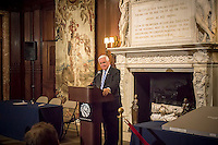 PA Gov. Tom Corbett at the announcement of an agreement to display the NYPL's copy of the original Bill of Rights at the unveiling of the document at the main branch of the library in New York on Wednesday, May 22, 2013. The over 200 year old document is one of 14 copies made and distributed to the 13 former colonies and the federal government. This copy has not been displayed for decades and a state of the art box containing protective glass and argon gas to prevent deterioration is being constructed for it. The copy will be displayed by the National Constitution Center in Philadelphia from 2014 to 2017 and then traveling back to the NYPL where the library will continue to display it 60 percent of the time. (© Richard B. Levine)