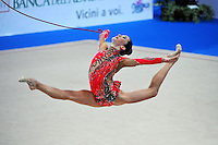 Neta Rivkin of Israel performs with rope at 2010 Pesaro World Cup on August 27, 2010 at Pesaro, Italy.  Photo by Tom Theobald.