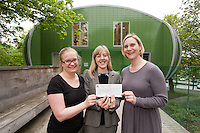 Nottingham solicitors Gateley hand over a cheque for £888.33 which they raised for Maggies Centre at the City Hospital, which provides support for people dagnosed with cancer. Pictured from left are Sam James and Charlotte Chapman from Gateley, with Laura Grant, fundraising manager for Maggies.