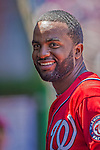 26 May 2013: Washington Nationals outfielder Denard Span smiles in the dugout prior to a game against the Philadelphia Phillies at Nationals Park in Washington, DC. The Nationals defeated the Phillies 6-1 to take the rubber game of their 3-game weekend series. Mandatory Credit: Ed Wolfstein Photo *** RAW (NEF) Image File Available ***