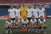 USWNT starting 11. In an international friendly, the U.S. Women's National Team (USWNT) (white/blue) defeated Korea Republic (South Korea) (red/blue), 4-1, at Gillette Stadium on June 15, 2013.
