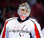10 February 2010: Washington Capitals' goaltender Michal Neuvirth warms up prior to a game against the Montreal Canadiens at the Bell Centre in Montreal, Quebec, Canada. The Canadiens defeated the Capitals 6-5 in sudden death overtime, ending Washington's team-record winning streak at 14 games. Mandatory Credit: Ed Wolfstein Photo
