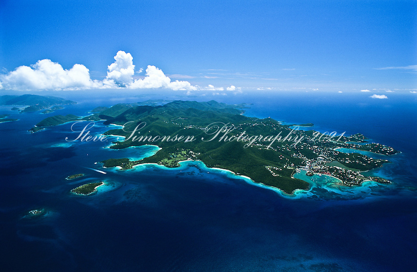 Aerial view of St.  John<br /> U.S. Virgin Islands