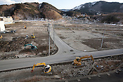 Scenes of the clearing up and devastation caused by the earthquake and tsunami of March 11th 2001, in Onagawa, near Ishinomaki, Japan, on Friday 17th February 2012.