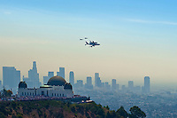 Space shuttle Endeavour over Los Angeles CA,