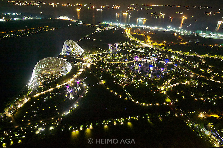 Singapore. Marina Bay Sands. View over Gardens by the Bay with its supertrees at night.