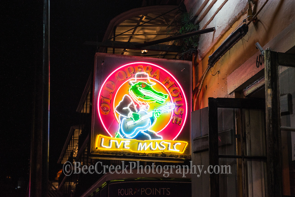 Neon Street signs at night  from New Orleans French Quarter.