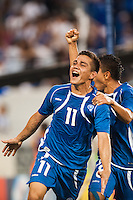 El Salvador forward Rodolfo Zelaya (11) celebrates scoring with midfielder Osael Romero (8) during a CONCACAF Gold Cup group B match at Red Bull Arena in Harrison, NJ, on July 8, 2013.