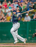 12 July 2015: Vermont Lake Monsters first baseman Chris Iriart in action against the West Virginia Black Bears at Centennial Field in Burlington, Vermont. The Lake Monsters came back from a 4-0 deficit to defeat the Black Bears 5-4 in NY Penn League action. Mandatory Credit: Ed Wolfstein Photo *** RAW Image File Available ****