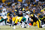 PITTSBURGH, PA - JANUARY 23: Ben Roethlisberger #7 of the Pittsburgh Steelers scrambles against the New York Jets in the AFC Championship Playoff Game at Heinz Field on January 23, 2011 in Pittsburgh, Pennsylvania. The Steelers defeated the Jets 24 to 19. (Photo by: Rob Tringali) *** Local Caption *** Ben Roethlisberger