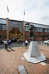 Port Vale 3 Doncaster Rovers 0, 22/08/2015. League One, Vale Park. The main entrance to Vale Park, and the Phil Sproson statue. Photo by Paul Thompson.