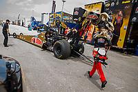 Apr 22, 2017; Baytown, TX, USA; NHRA top fuel driver Leah Pritchett during qualifying for the Springnationals at Royal Purple Raceway. Mandatory Credit: Mark J. Rebilas-USA TODAY Sports