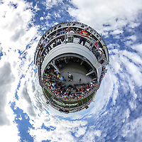 little planet 360 degree view.  (Photo by Brian Cleary/ www.bcpix.com ) Daytona 500 raceday crowd
