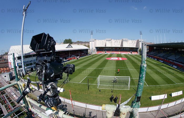 TV getting ready at Firhill Stadium