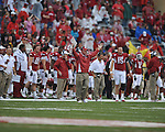 Arkansas Head Coach Bobby Petrino reacts to a play at Reynolds Razorback Stadium in Fayetteville, Ark. on Saturday, October 23, 2010.