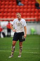 A muddied Abby Wambach reacts to a call. The USA defeated Norway 2-1 at Olhao Stadium on February 26, 2010 at the Algarve Cup.