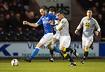 St Mirren v St Johnstone...06.12.14   SPFL<br /> James McFadden holds off Steven Mallan<br /> Picture by Graeme Hart.<br /> Copyright Perthshire Picture Agency<br /> Tel: 01738 623350  Mobile: 07990 594431