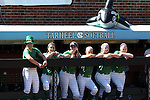 24 April 2016: Notre Dame players cheer on their teammates from the bench. The University of North Carolina Tar Heels hosted the University of Notre Dame Fighting Irish at Anderson Stadium in Chapel Hill, North Carolina in a 2016 NCAA Division I softball game. UNC won game 1 of the doubleheader 7-4.