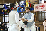 11 February 2017: Duke's Jonathan Schwartzman (right) shakes hands with Boston College's Cameron Mayer (left) after their Foil match. The Duke University Blue Devils hosted the Boston College Eagles at Card Gym in Durham, North Carolina in a 2017 College Men's Fencing match. Duke won the dual match 18-9 overall, 9-0 Foil, and 6-3 Saber. Boston College won Epee 6-3.