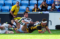 Will Rowlands of Wasps scores a second half try. Pre-season friendly match, between Wasps and Yorkshire Carnegie on August 21, 2016 at the Ricoh Arena in Coventry, England. Photo by: Patrick Khachfe / JMP
