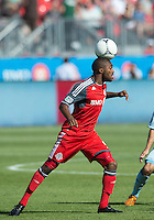 August 18, 2012: Toronto FC defender Ashtone Morgan #5 in action during an MLS game between Toronto FC and Sporting Kansas City at BMO Field in Toronto, Ontario Canada..Sporting Kansas City won 1-0.