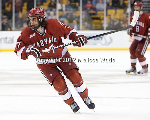 Rence Coassin (Harvard - 17) - The Boston University Terriers defeated the Harvard University Crimson 3-1 in the opening round of the 2012 Beanpot on Monday, February 6, 2012, at TD Garden in Boston, Massachusetts.