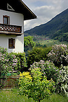 Austrian country cottage and garden against the background of fields and forest covered mountain. Imst district, tyrol,tirol, Austria.