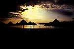 Silhouetts of children and parasols,Tenerife, Canary Islands, Spain