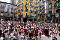The San Fermín festival on the main square of Pamplona, Spain, 6 July 2005.