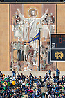 Oct 11, 2014; The Hesburgh Library Word of Life Mural, commonly known as Touchdown Jesus, seen from ND Stadium during the North Carolina game. (Photo by Matt Cashore)