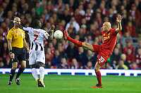 LIVERPOOL, ENGLAND - Thursday, October 4, 2012: Liverpool's Jonjo Shelvey in action against Udinese Calcio during the UEFA Europa League Group A match at Anfield. (Pic by David Rawcliffe/Propaganda)